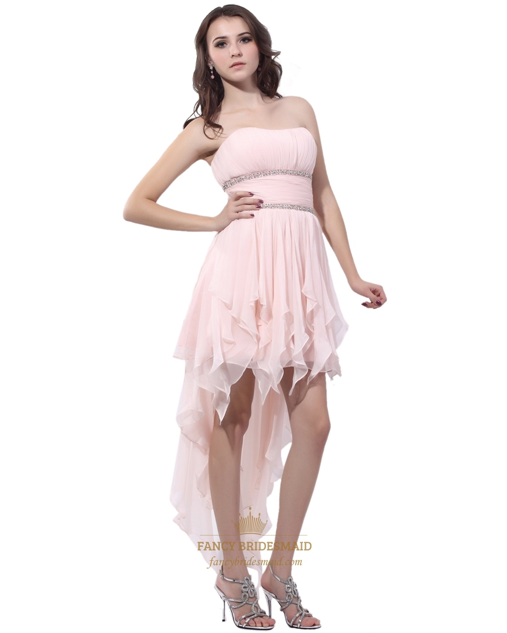 Light Pink Strapless Chiffon Beaded High Low Prom Dress ...