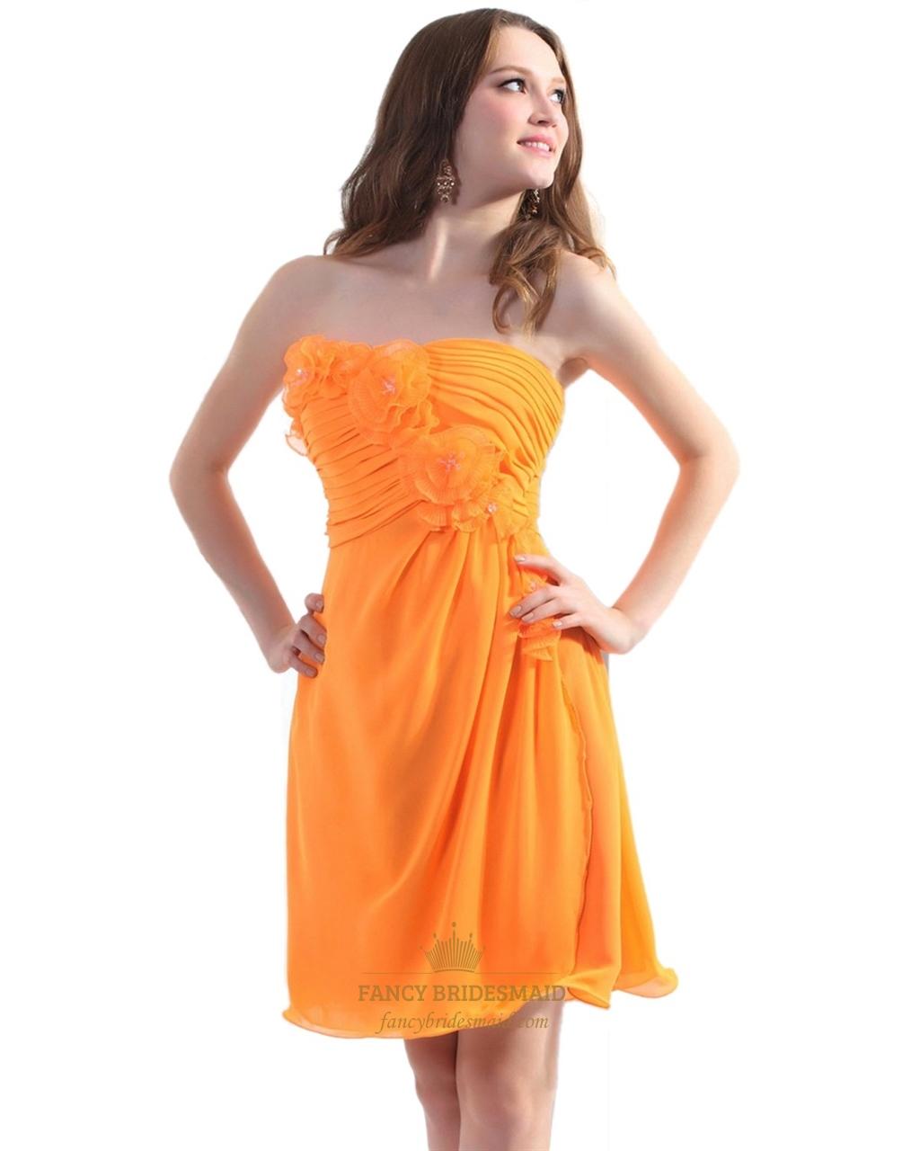 Orange Chiffon Strapless Short Bridesmaid Dresses With