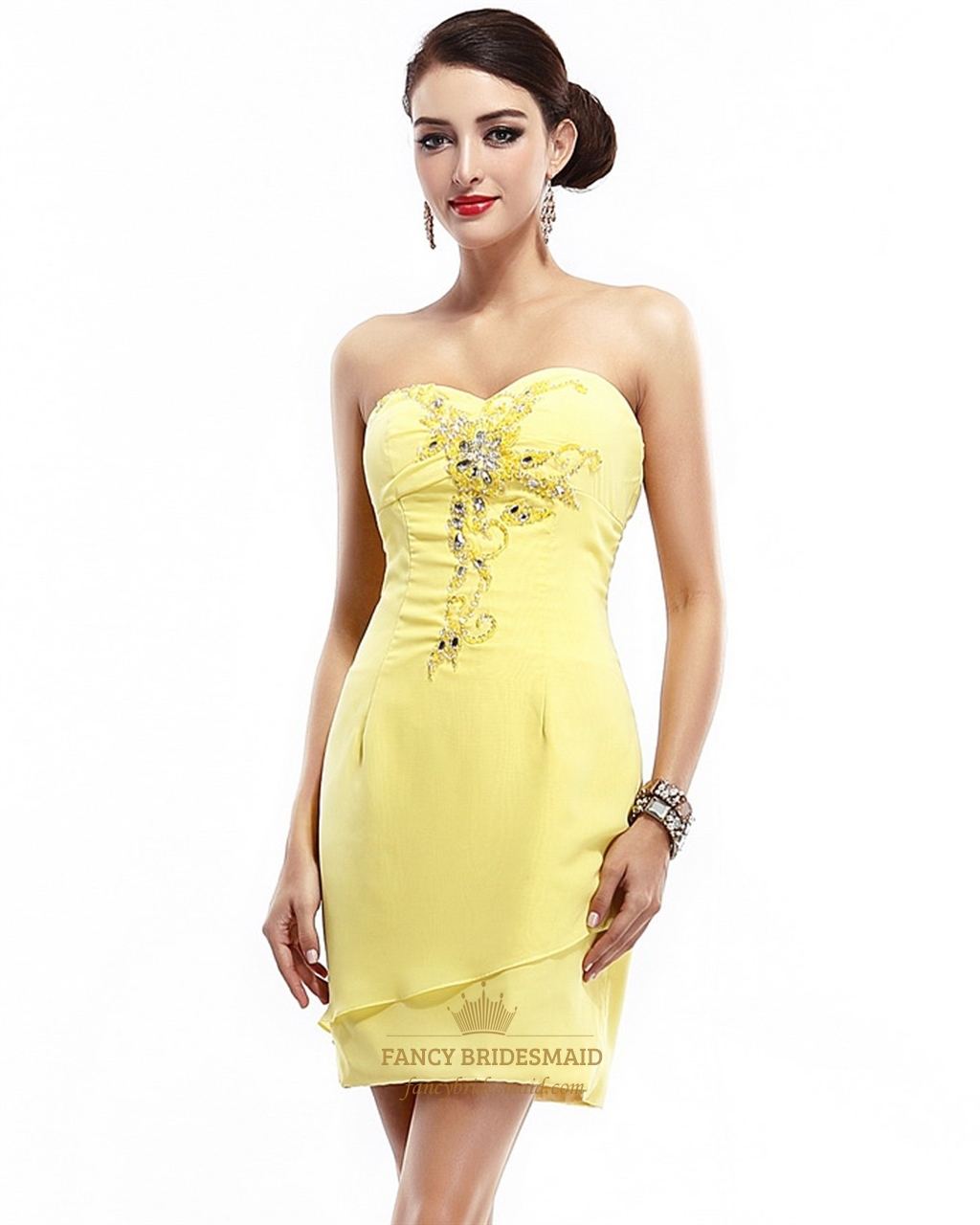 Yellow Strapless Sweetheart Chiffon Beaded Short Dress For