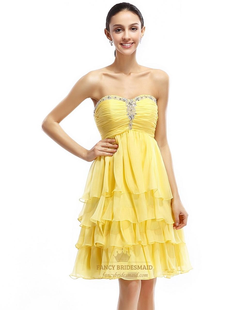 950f330eaecd Yellow Beaded Sweetheart Neckline Chiffon Dress With Layered Skirt SKU  -NW769