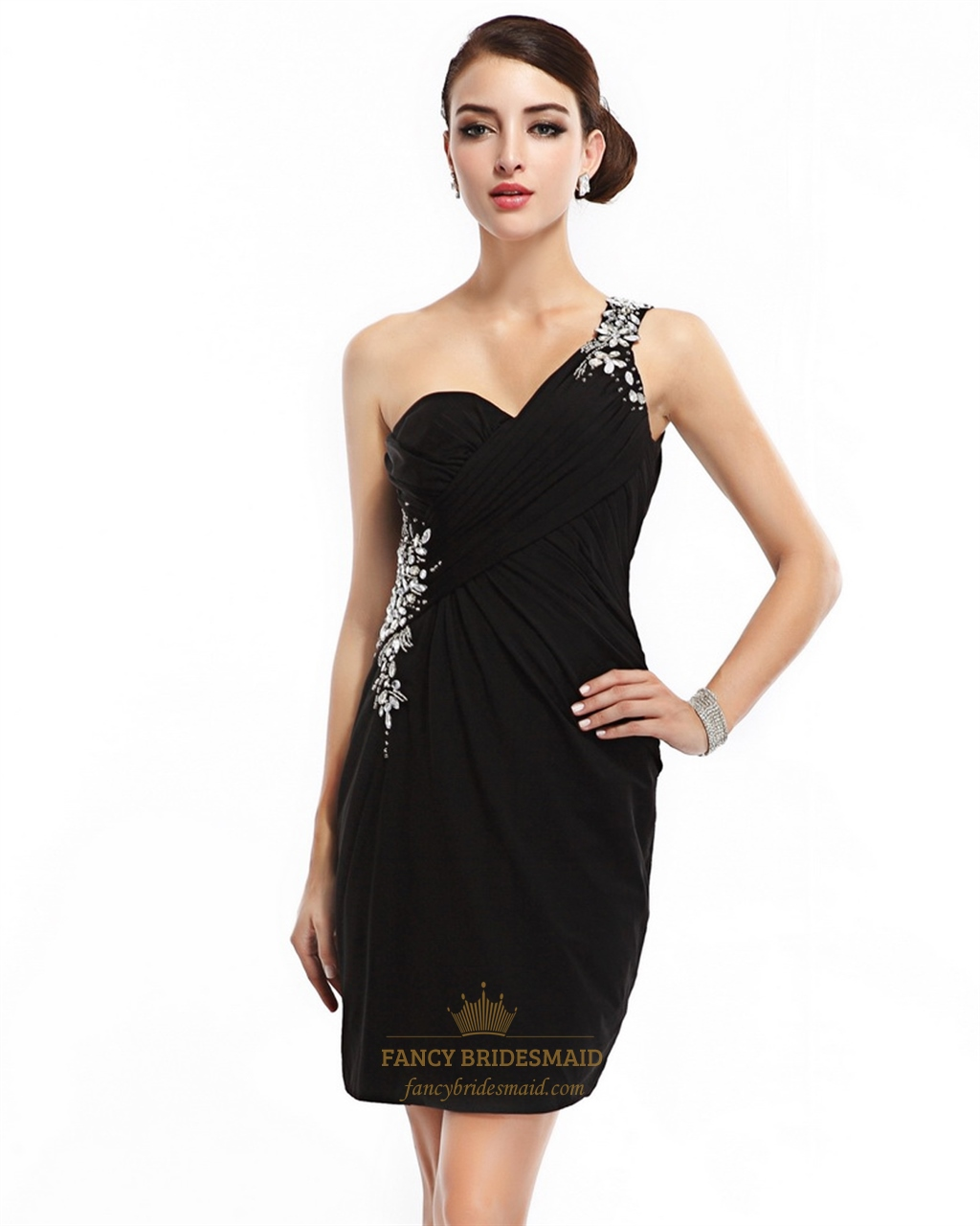 9d82769ca49 Black One Shoulder Chiffon Open Back Cocktail Dress With Beaded Detail SKU  -NW770