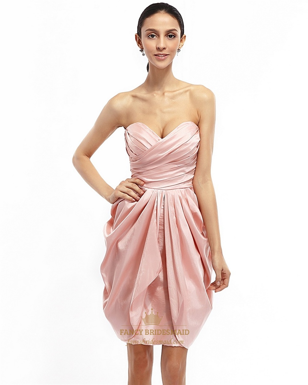 Pink Strapless Draped Taffeta Cocktail Dress With Egg Shaped Skirt ...