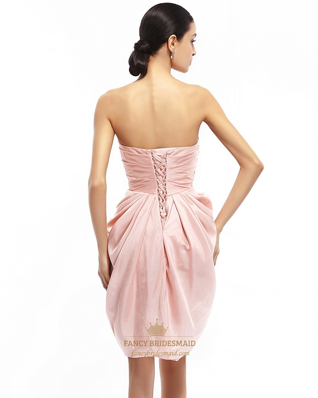Pink Strapless Draped Taffeta Cocktail Dress With Egg ...