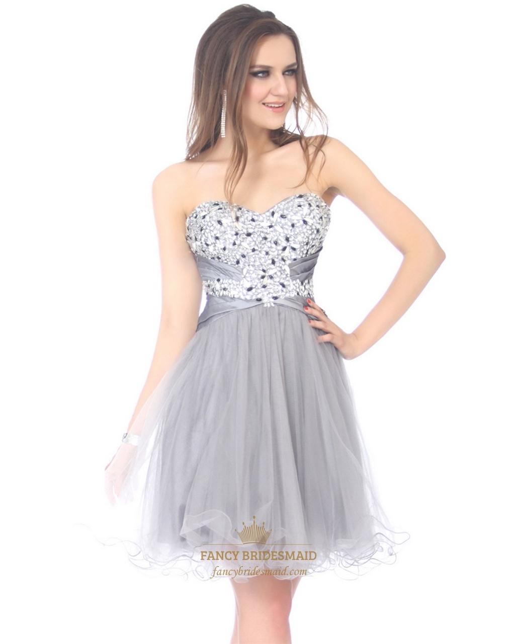 Light Dresses Damas Salient Junior Graduation: Light Grey Beaded Bodice Strapless Sweetheart Dress With