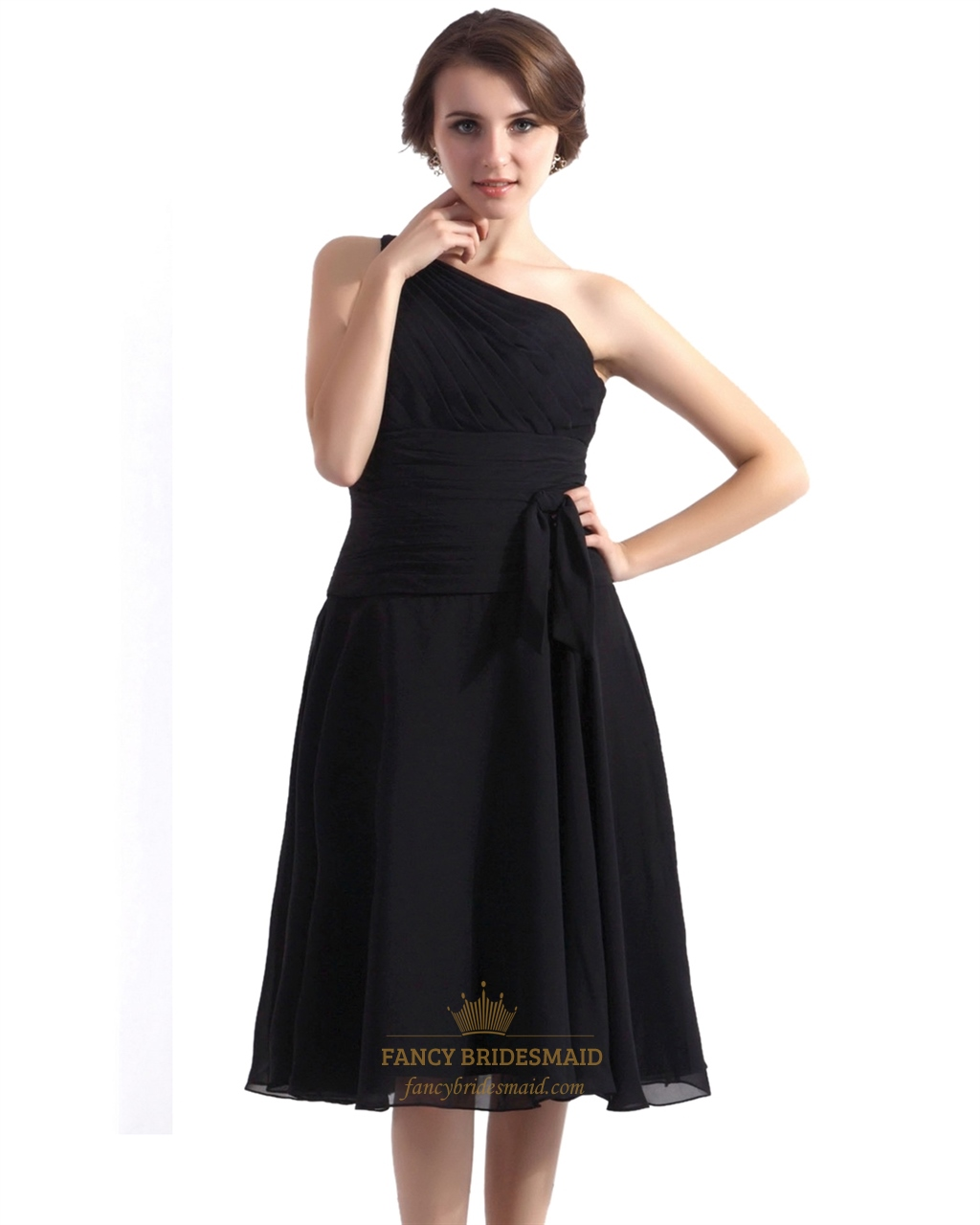 Black A Line Tea Length One Shoulder Dropped Waist Cocktail Dress | Fancy Bridesmaid Dresses