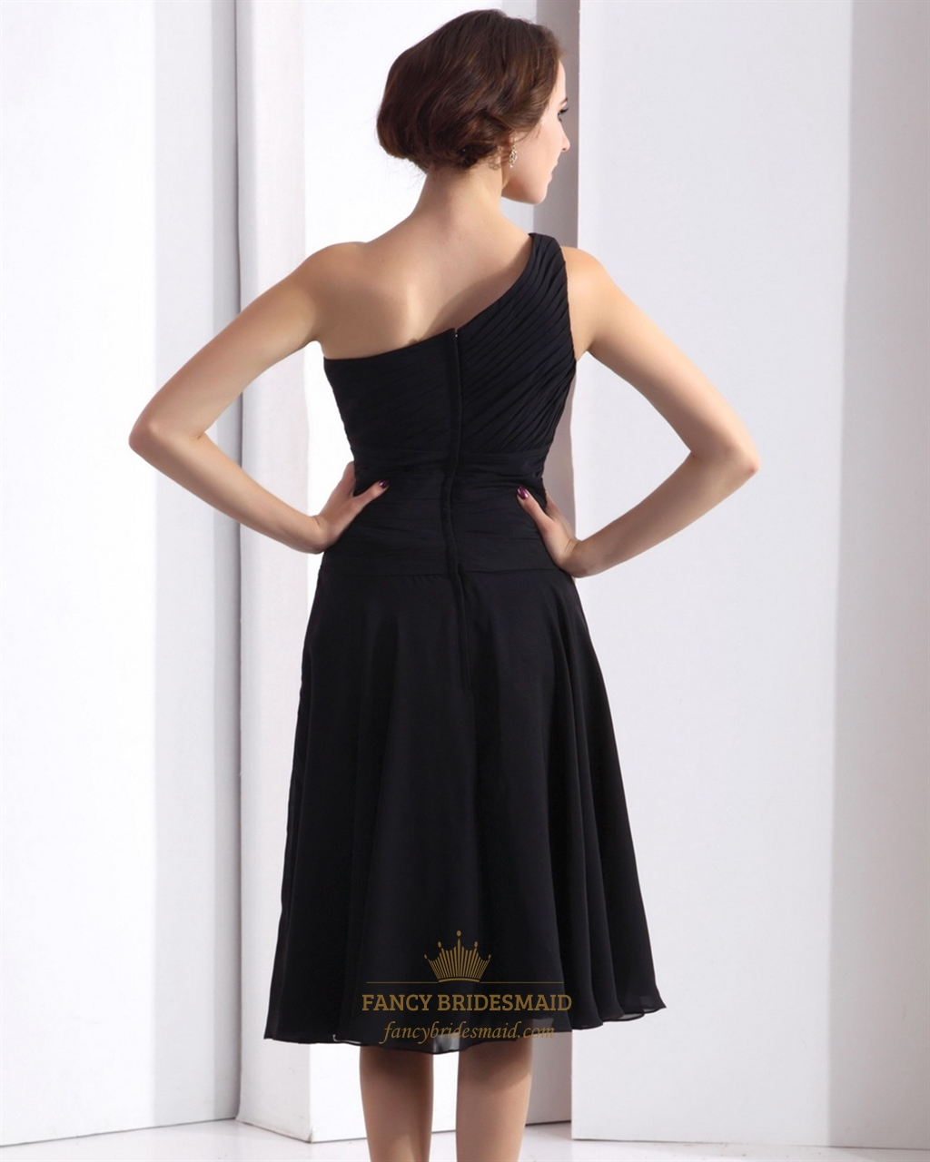 Black a line tea length one shoulder dropped waist for One shoulder tea length wedding dress
