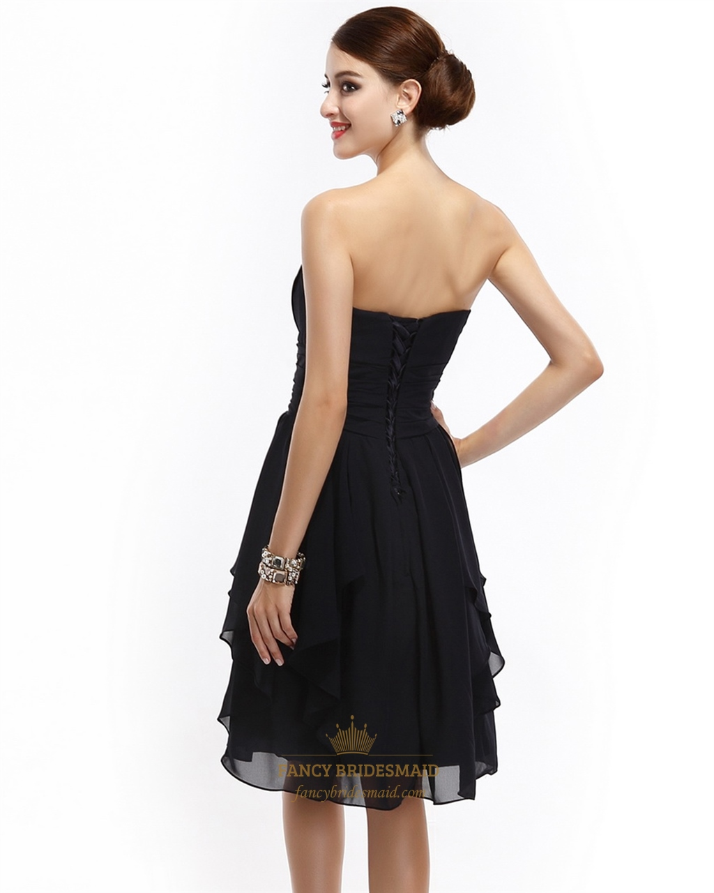 Short Black Strapless Chiffon Bridesmaid Dresses With