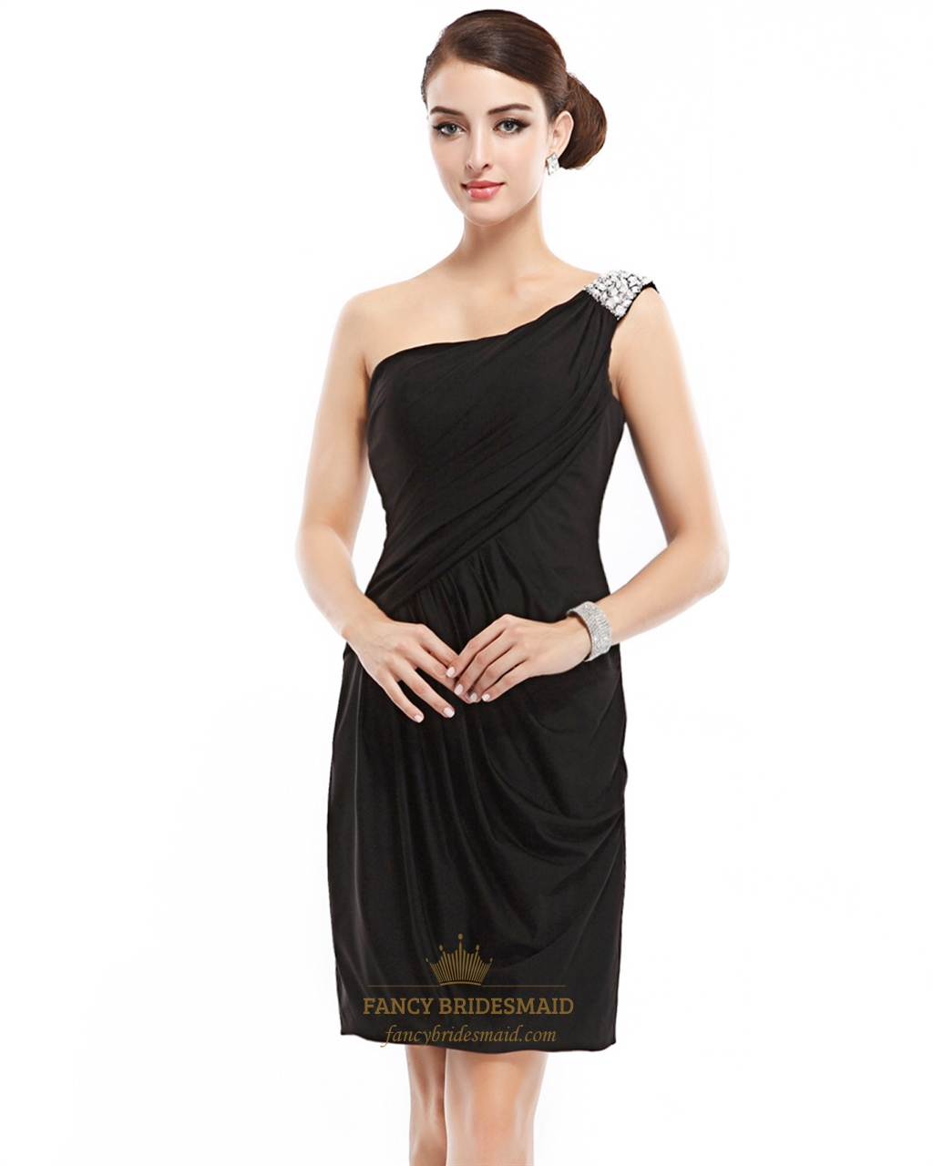 black one shoulder mini sheath beaded cocktail dress with