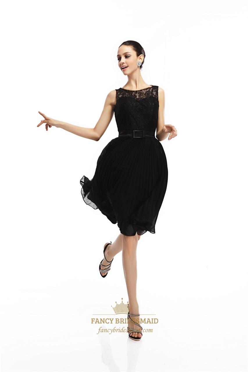 Black Lace Bodice Illusion Neckline Knee Length Cocktail