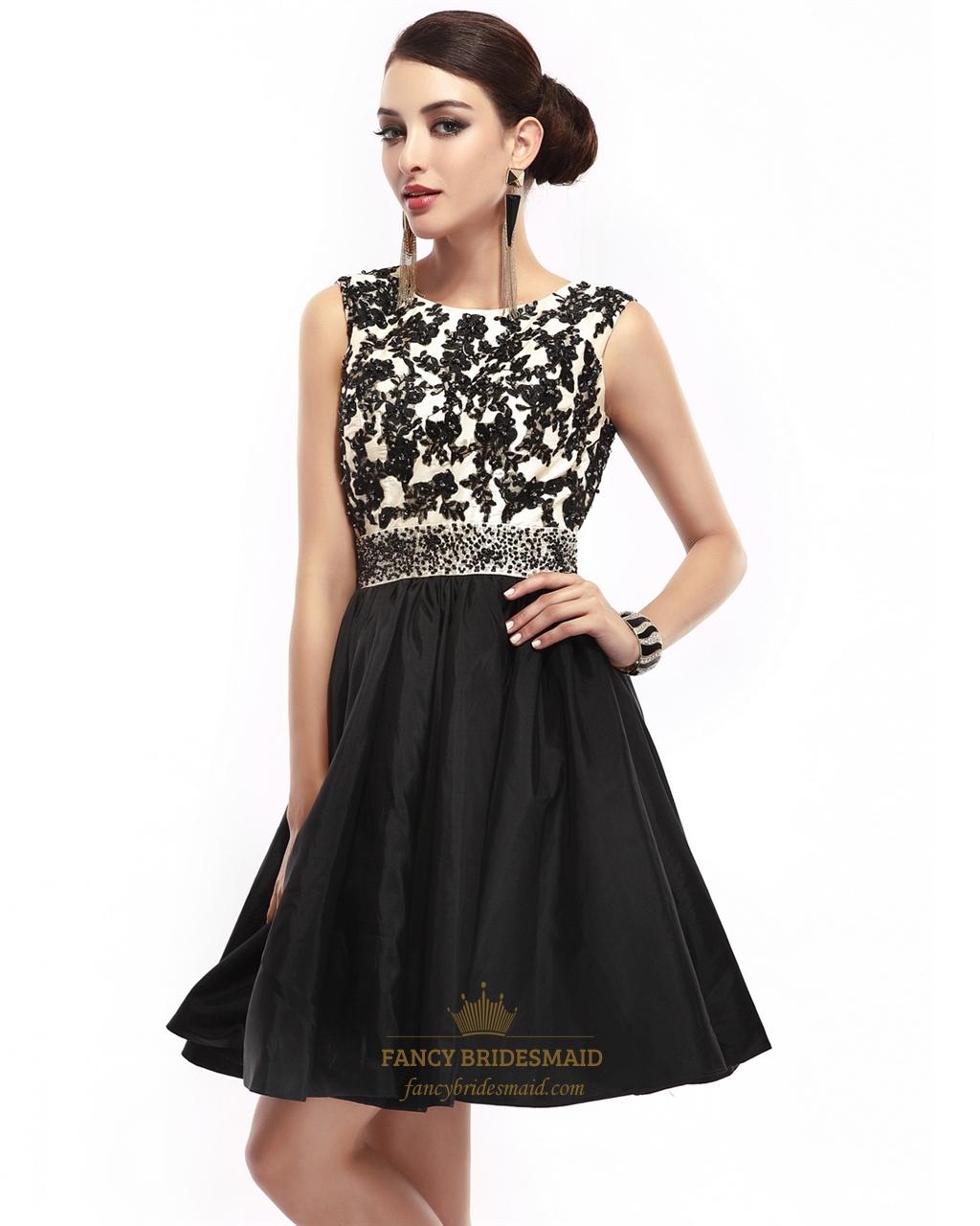 Black Sleeveless Lace Bodice Open Back Prom Dress With Beaded ...