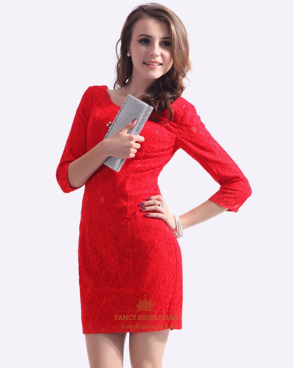 Red Lace Scoop Neck Sheath Mini Cocktail Dress With Three Quarter ...
