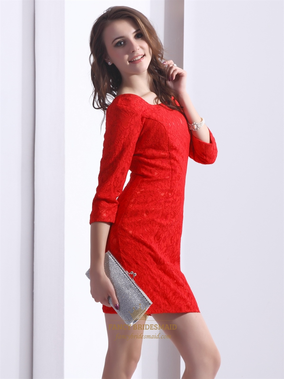 Red Lace Scoop Neck Sheath Mini Cocktail Dress With Three
