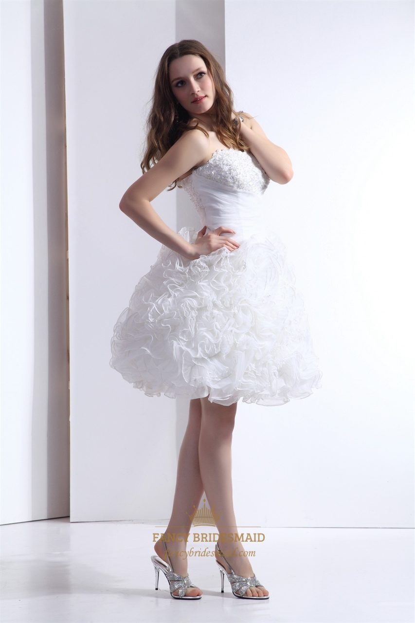 Ruffled Organza Skirt With Embroidered And Beaded Bodice: White Strapless Ruffled Organza Ball Gown With Pearl