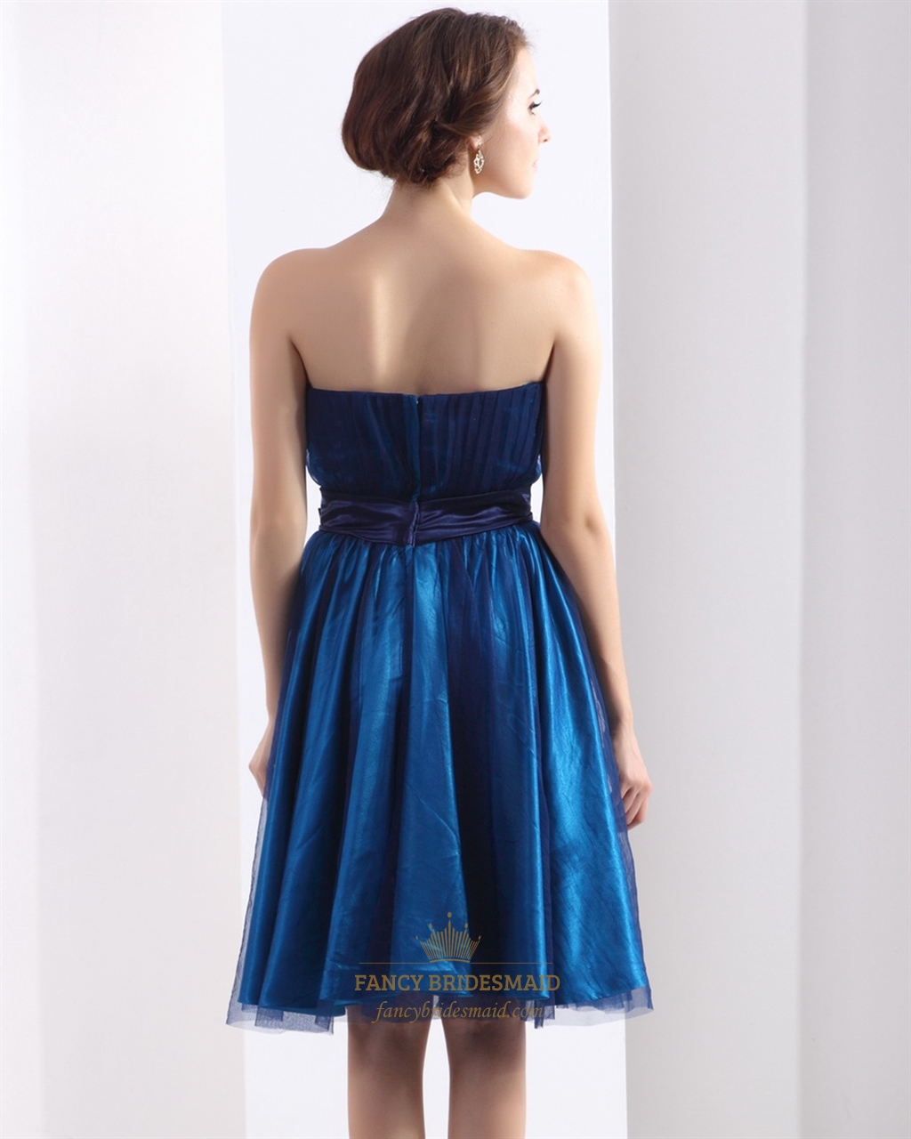 Royal Blue Strapless Beaded Waist Detail Short Dress With ...