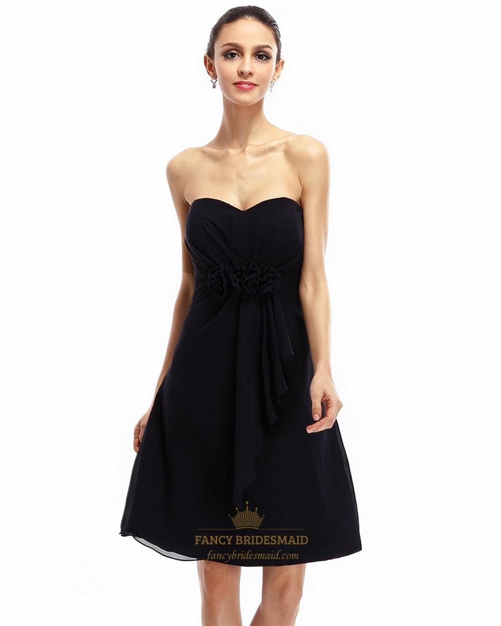 Black Strapless Sweetheart Chiffon Bridesmaid Dress With