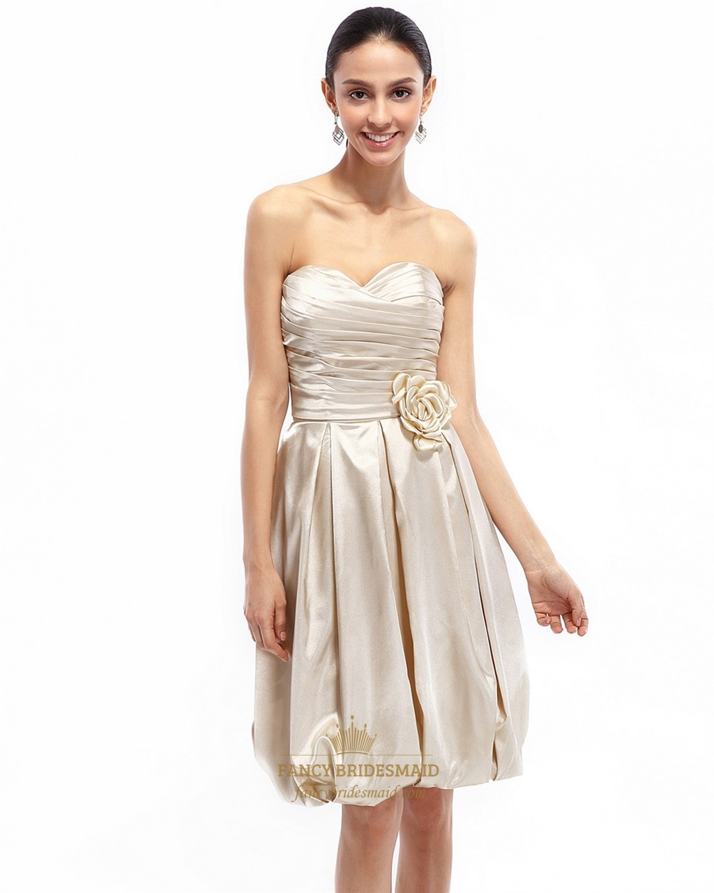 Champagne strapless taffeta ruched bridesmaid dress with for Strapless taffeta wedding dress