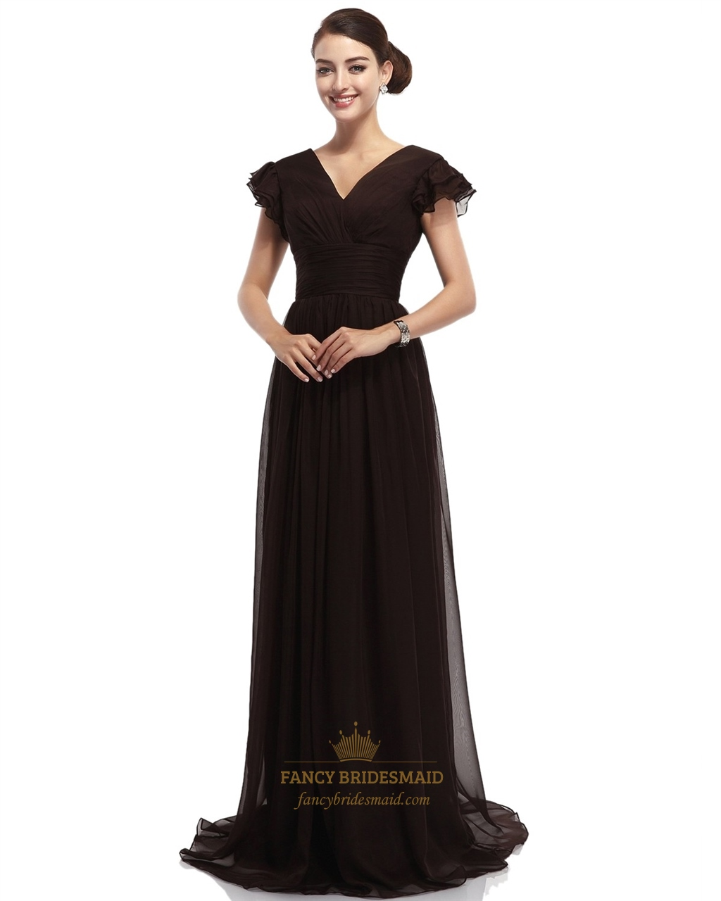 Brown a line v neck long chiffon bridesmaid dresses with for Brown dresses for wedding
