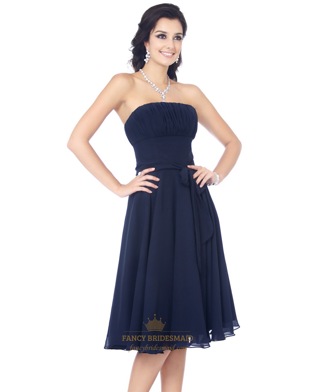 02112d01a790 Navy Blue Strapless Knee Length Chiffon Bridesmaid Dress With Sash SKU  -NW791