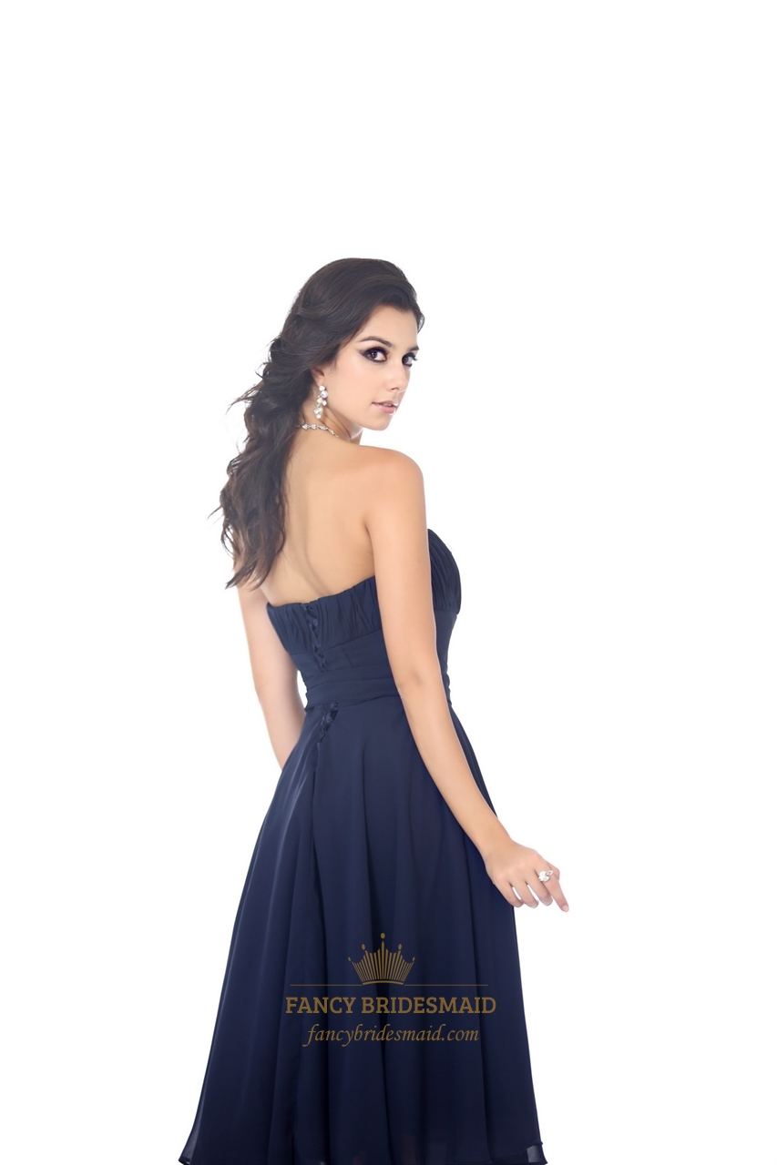 Navy blue strapless knee length chiffon bridesmaid dress with sash navy blue strapless knee length chiffon bridesmaid dress with sash ombrellifo Images