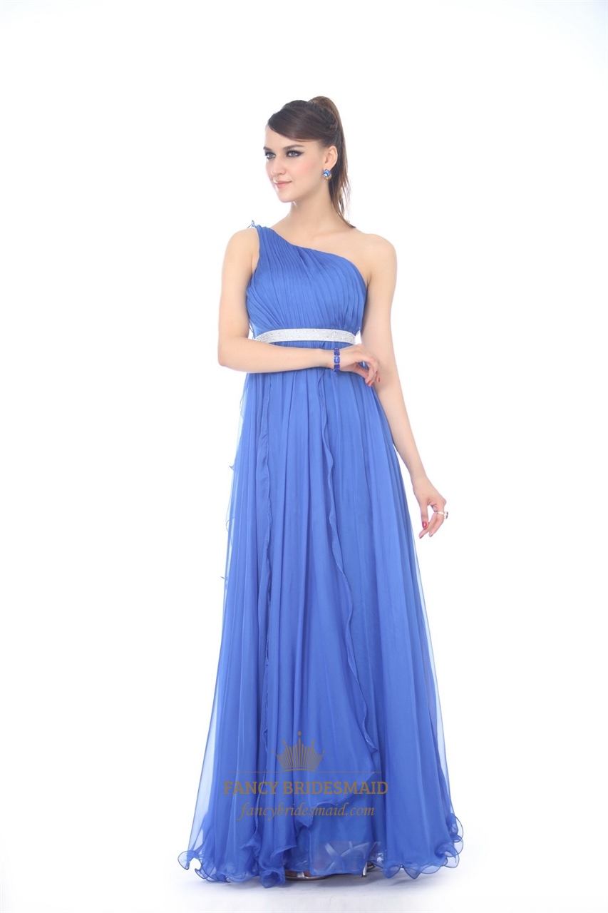sapphire blue one shoulder chiffon evening dress with