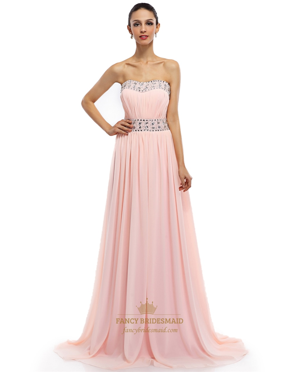 Light Pink Chiffon Strapless Prom Dress With Ruched Bust And Beading ...
