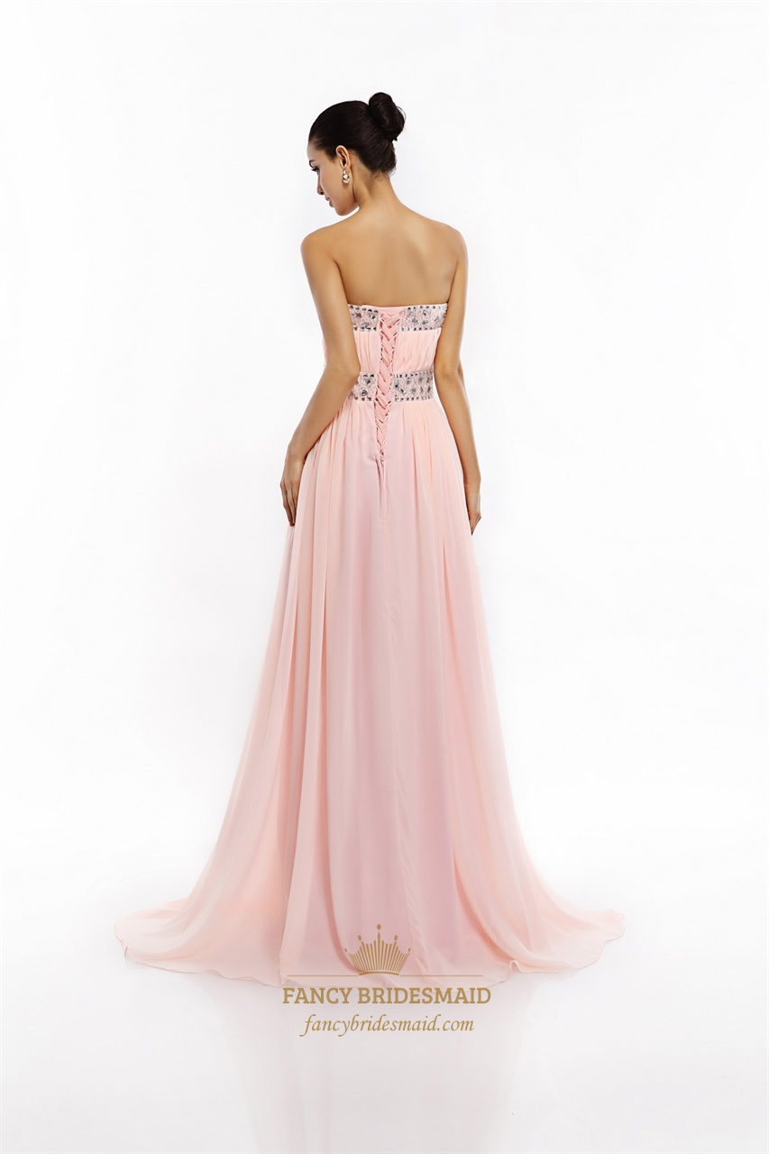 Light Pink Chiffon Strapless Prom Dress With Ruched Bust