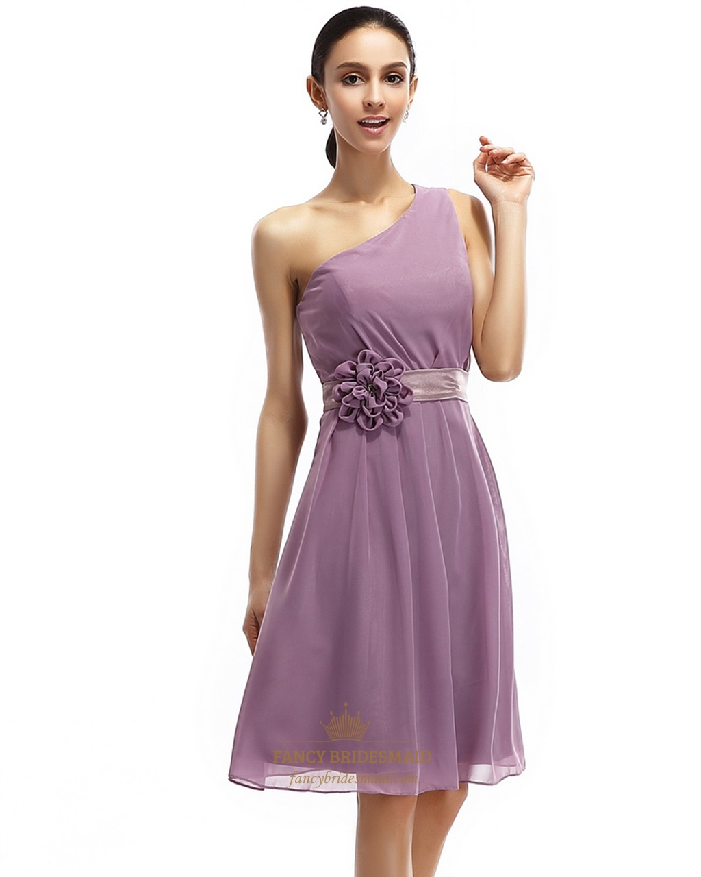 Purple Chiffon One Shoulder Short Bridesmaid Dresses With