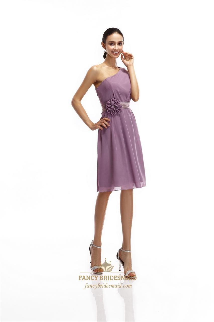Purple Chiffon One Shoulder Short Bridesmaid Dresses With ...