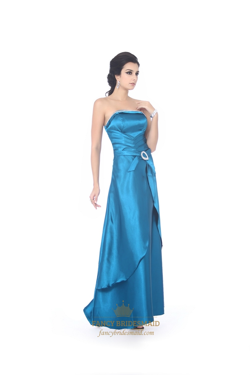 Blue Strapless Long Ruched Front Prom Dresses With