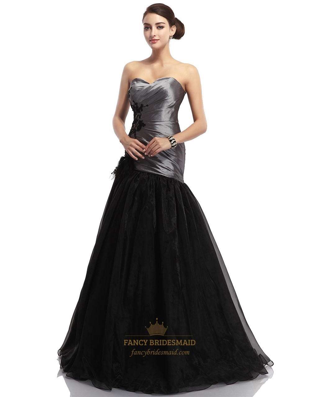 Grey and black sweetheart mermaid prom dress with feathers for Black and grey wedding dress