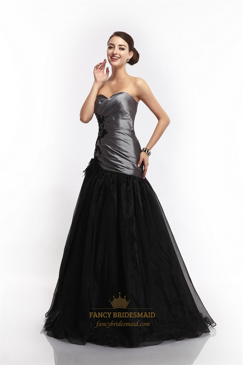 Grey And Black Sweetheart Mermaid Prom Dress With Feathers