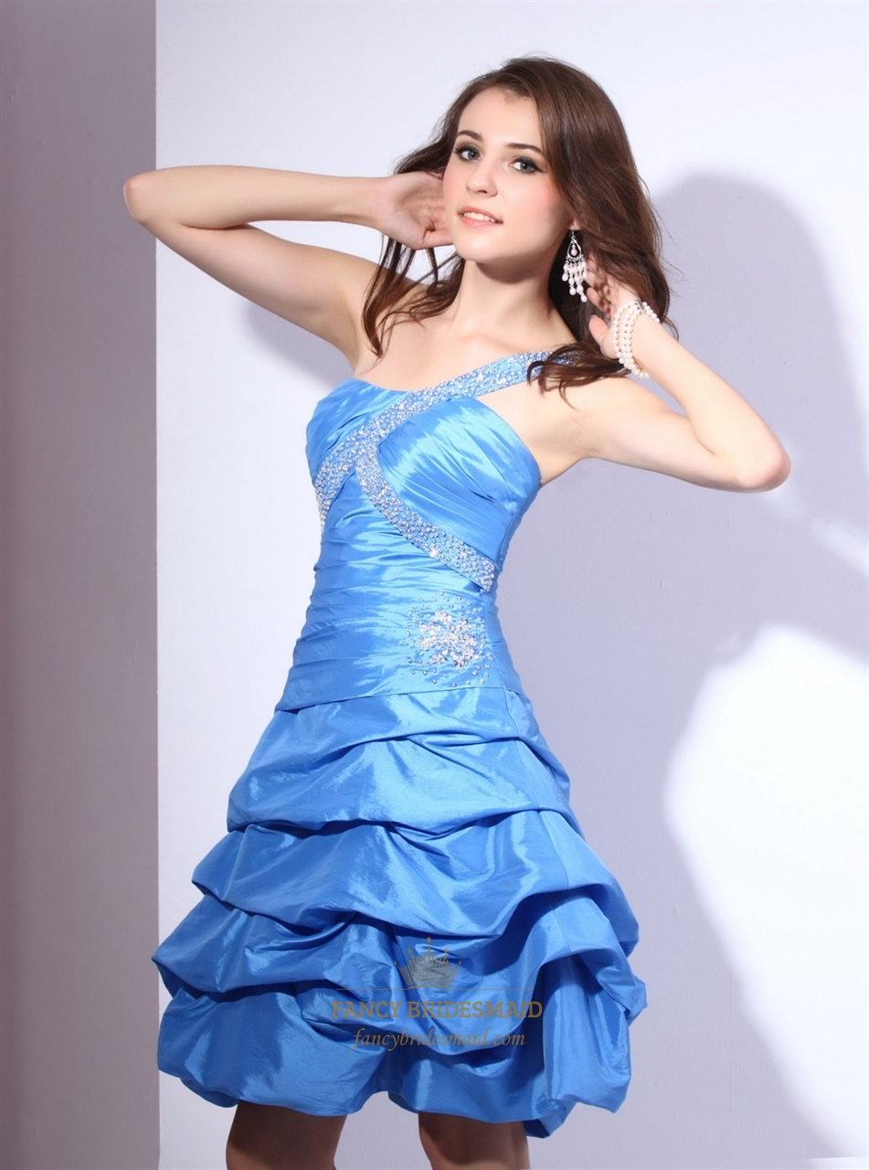 Blue one shoulder short taffeta dress with ruching and for Bubble skirt wedding dress