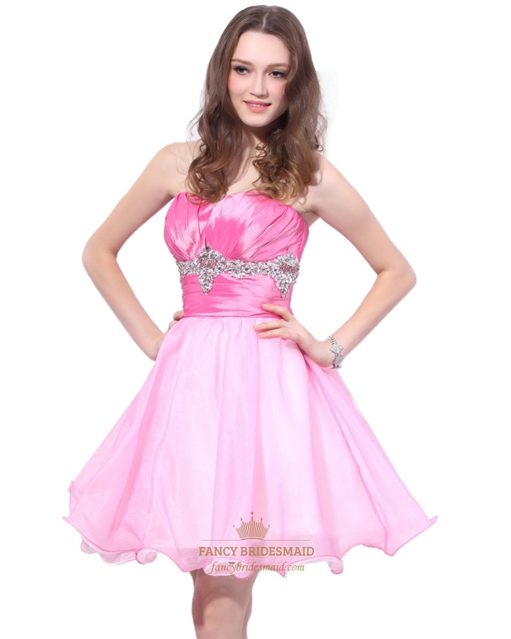 Pink Short Strapless Organza And Satin Blend Dress With Beaded Waist ...
