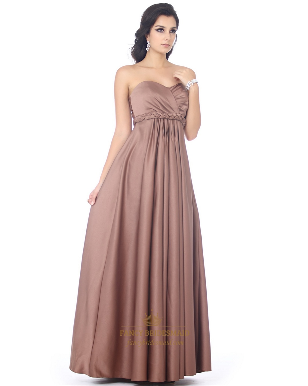 Chocolate brown satin sweetheart bridesmaid dress with for Brown dresses for wedding