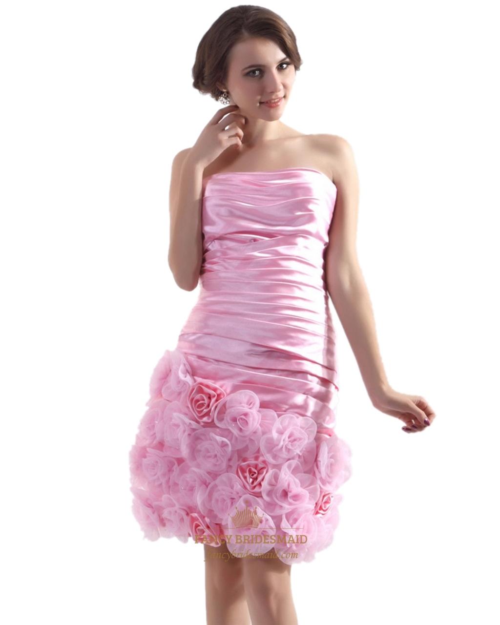 c0f6cc8cbf6 Pink Short Strapless Taffeta Ruched Sheath Cocktail Dress With Rosette SKU  -NW812
