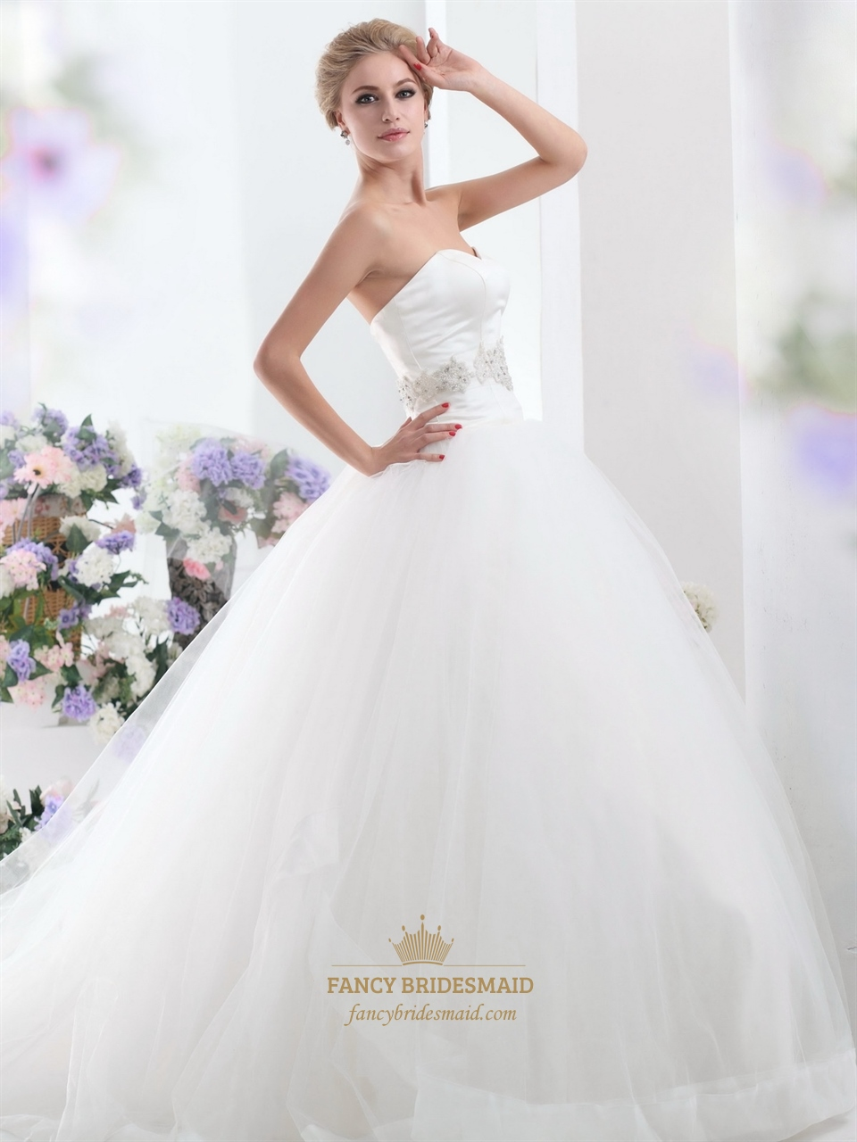Ivory Organza Strapless Beaded Ball Gown Wedding Dress