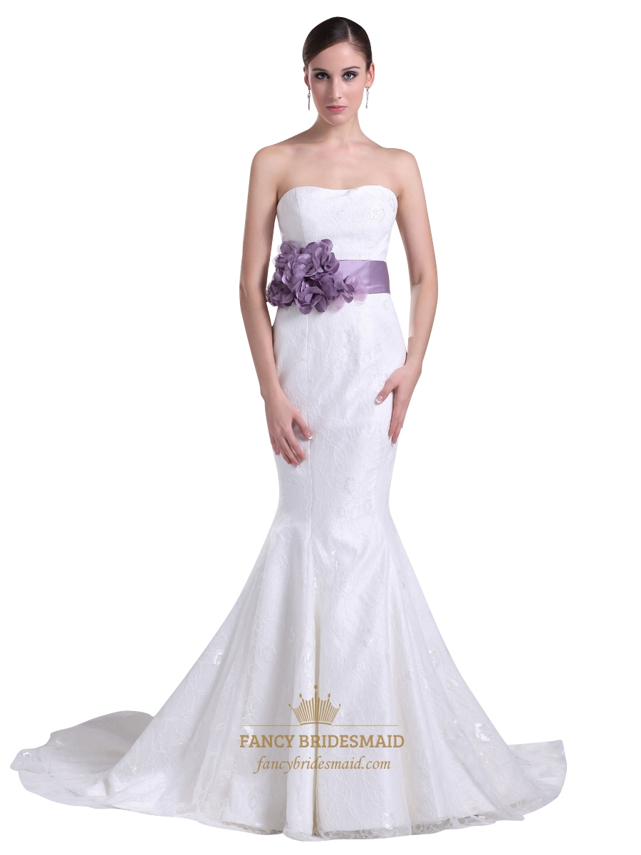 White Lace Mermaid Chapel Train Wedding Dress With Purple Flower ...
