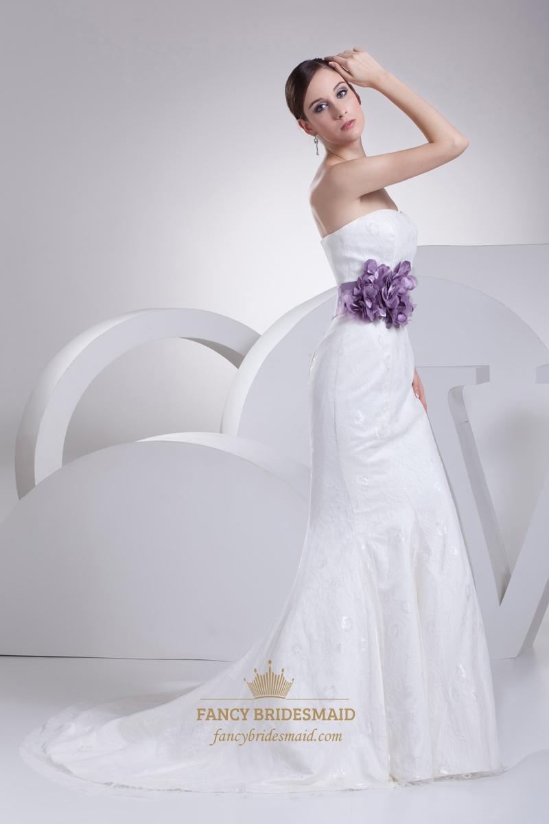 White Lace Mermaid Chapel Train Wedding Dress With Purple Flower