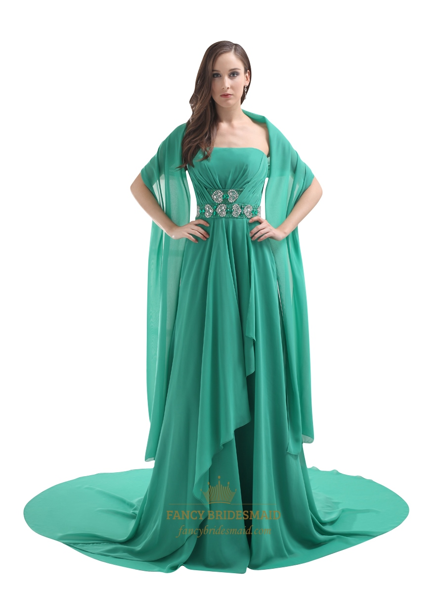 Green Strapless Sweep Train Chiffon Beaded Waist Prom Dress With ...