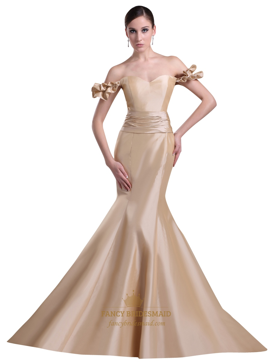 champagne taffeta off the shoulder mermaid prom dress with