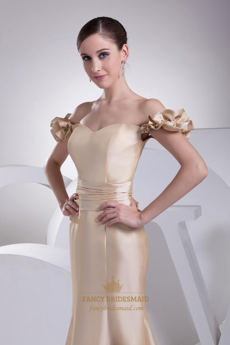 Champagne taffeta off the shoulder mermaid prom dress with for Mermaid off shoulder wedding dress