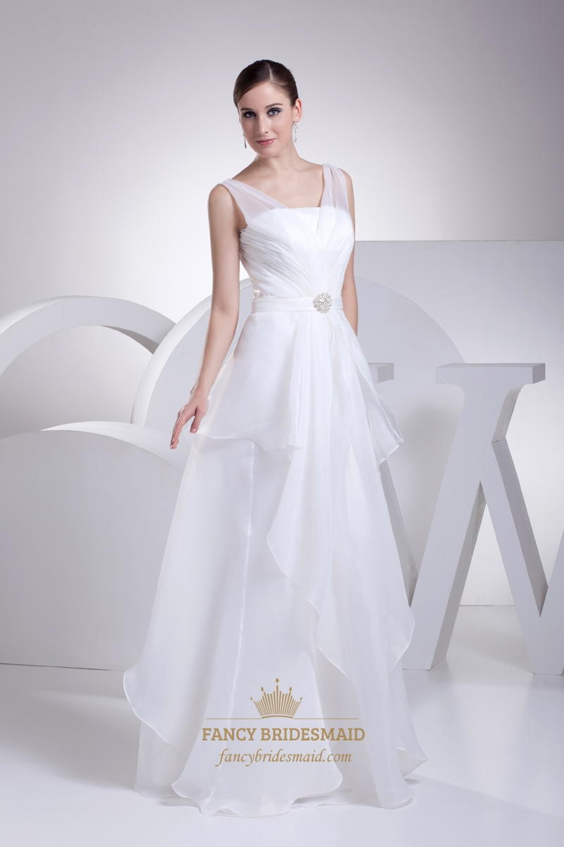 White Organza Sleeveless Illusion Top Prom Dress With