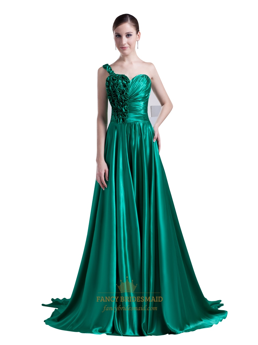 Sea Green One Shoulder Sweep Train Prom Dress With Ruffle Flower ...