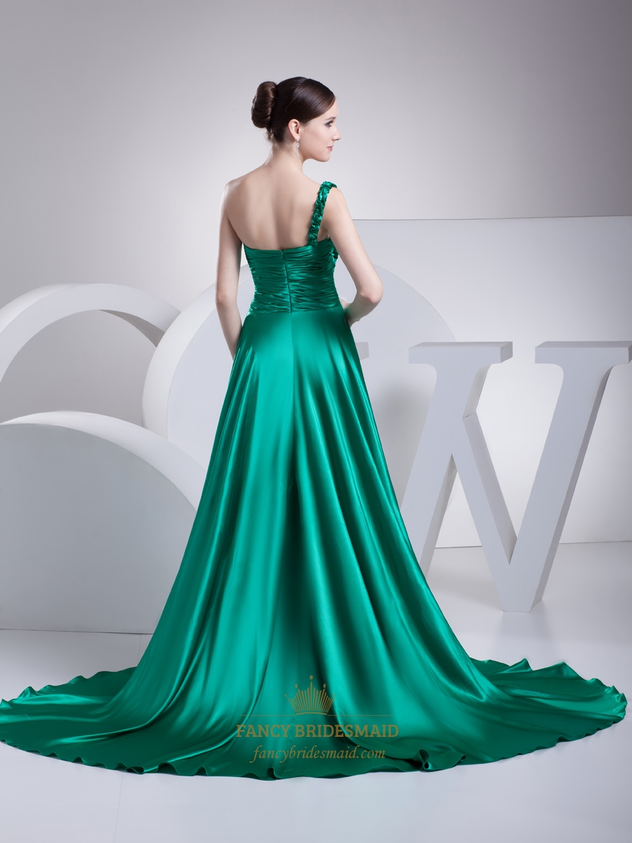sea green one shoulder sweep train prom dress with ruffle