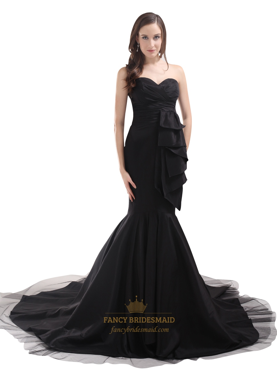 Black mermaid sweetheart strapless prom dress with side for Black mermaid wedding dresses