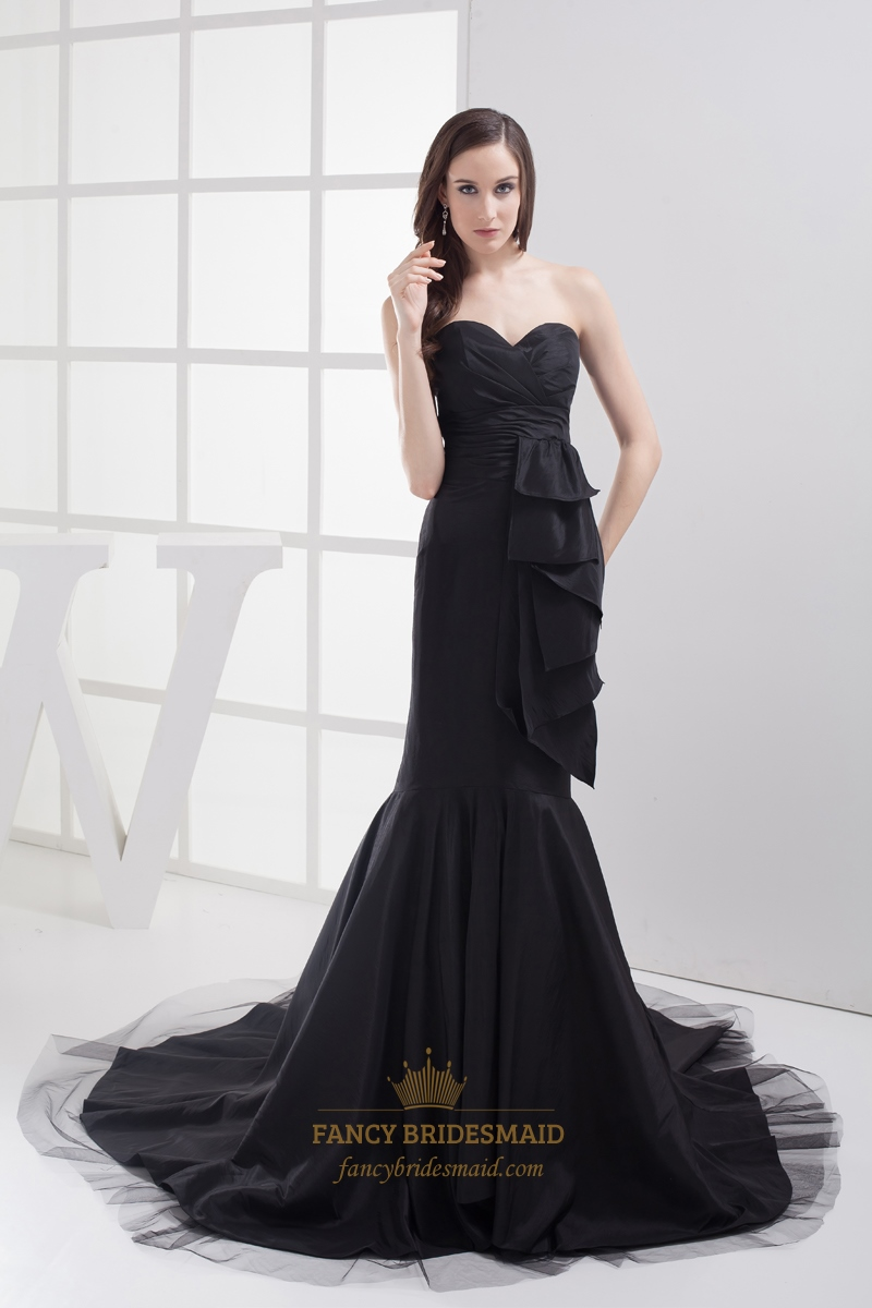 Black Mermaid Sweetheart Strapless Prom Dress With Side