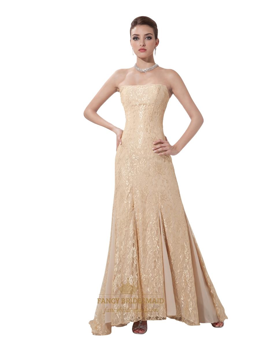 edfcc19d17d Vintage Champagne Lace Mermaid Strapless Floor-Length Evening Dress ...