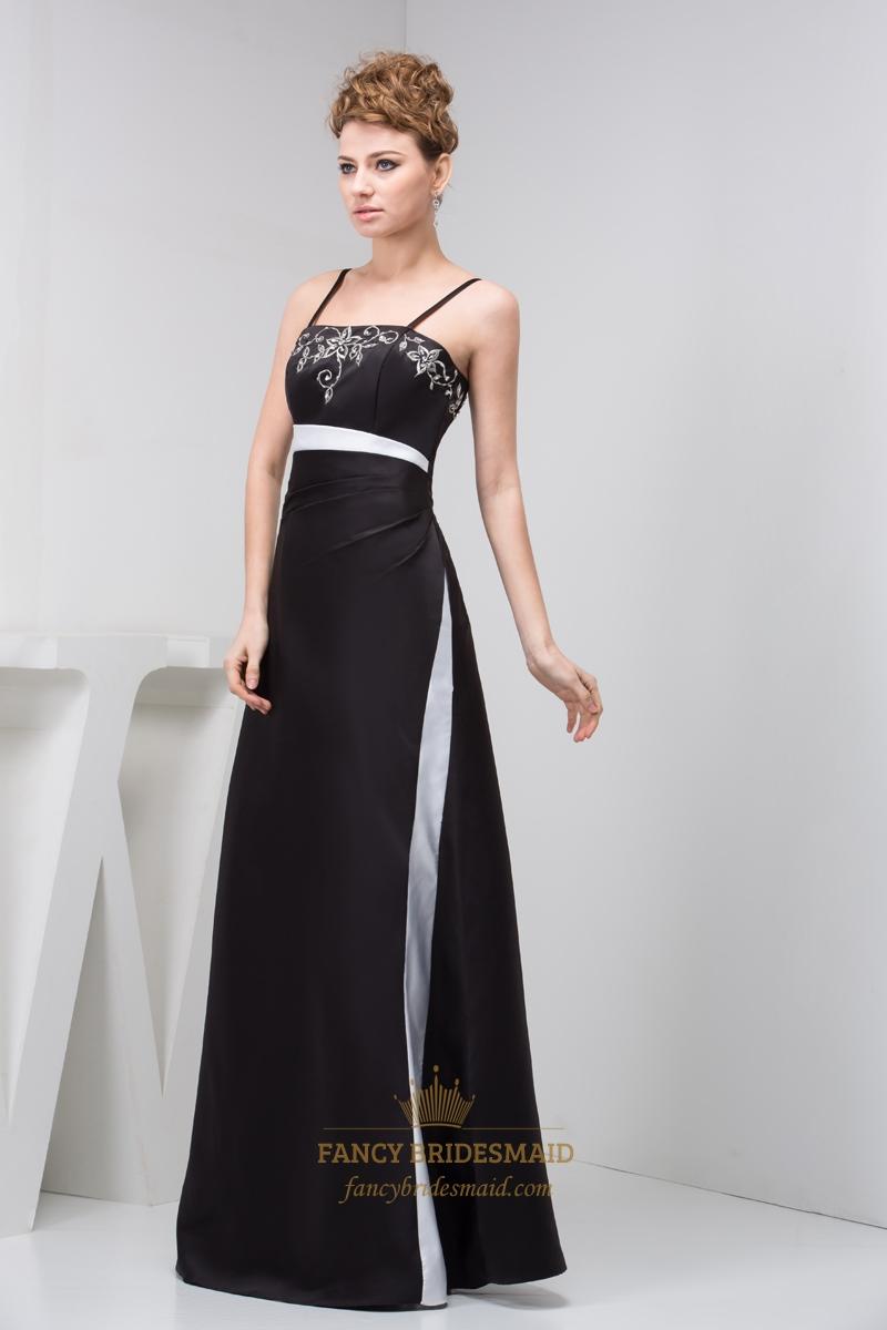 Black And White Spaghetti Strap Sheath Prom Dress With