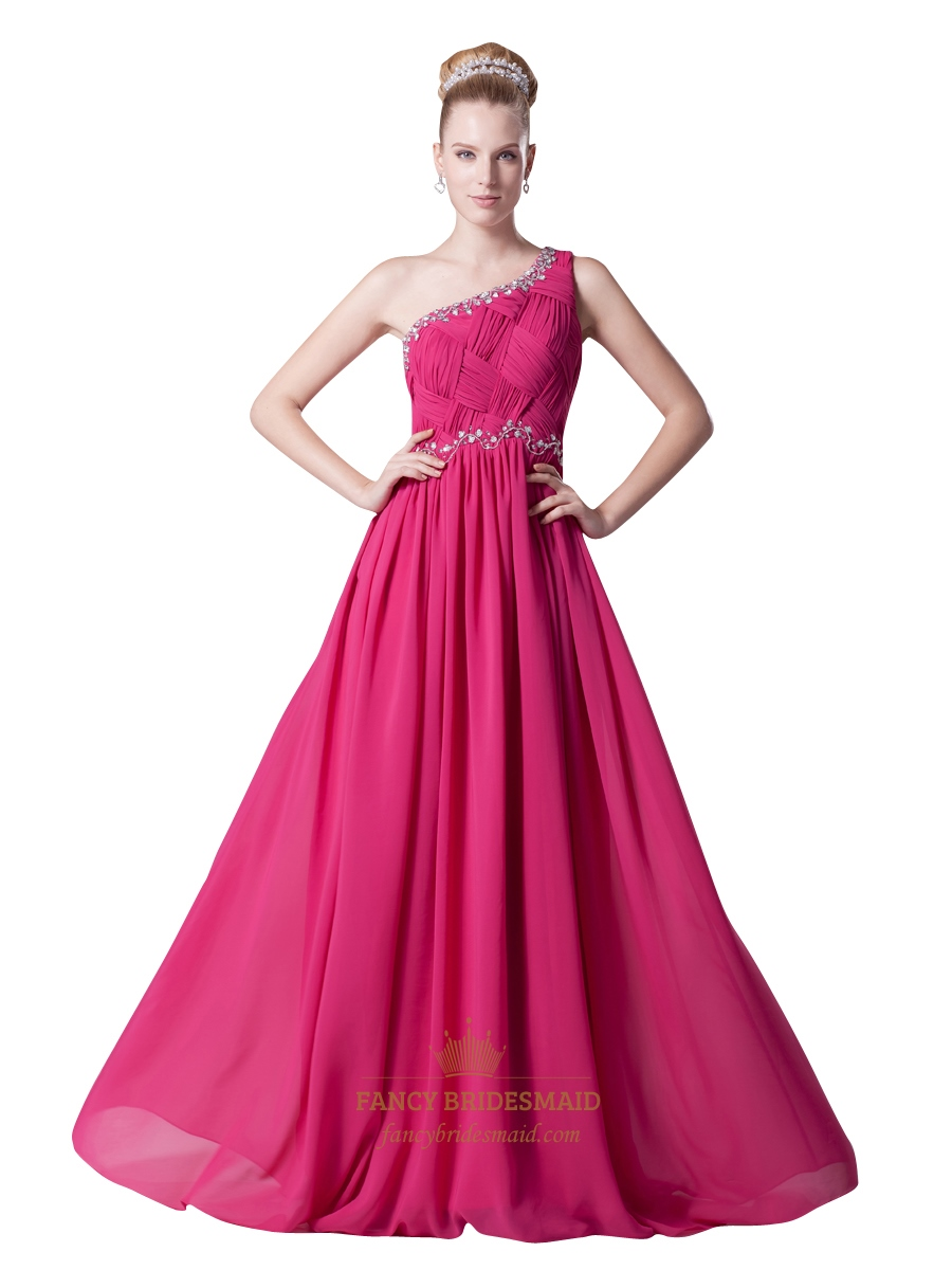 Hot Pink Embellished One Shoulder Chiffon Prom Dress With Beading ...
