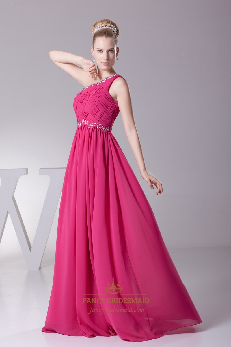 Hot Pink Embellished One Shoulder Chiffon Prom Dress With